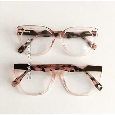 Armação de óculos de grau - Duda - Rose transparência