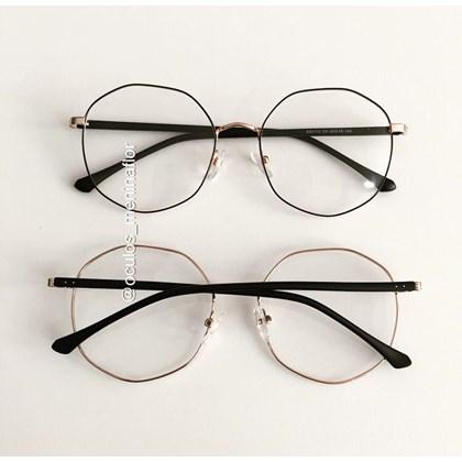 Armação de óculos de grau - Egito - Preto com dourado