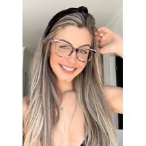 Armação de óculos de grau - Ella - Animal print haste Rose