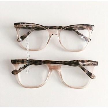 Armação de óculos de grau - Ella - Dourado Transparente