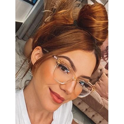 Armação de óculos de grau - Ester - Dourado transparente
