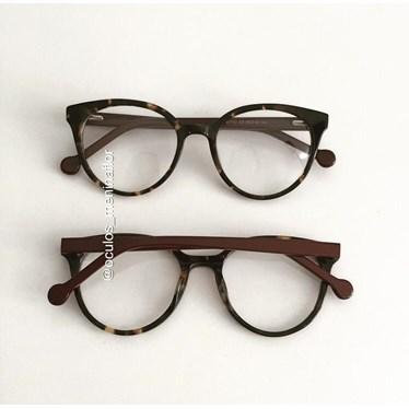 Armação de óculos de grau - Fada 2.0 - Animal print escuro haste bordo