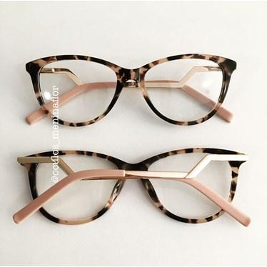 Armação de óculos de grau - FDMF - Animal print com rosa