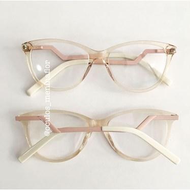 Armação de óculos de grau - FDMF - dourado transparente