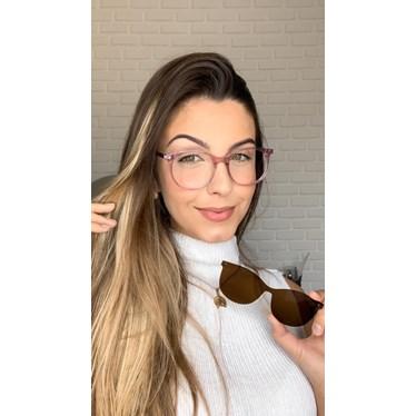 Armação de óculos de grau feminina - Menina Solta 25018 - Rose transparência lente marrom