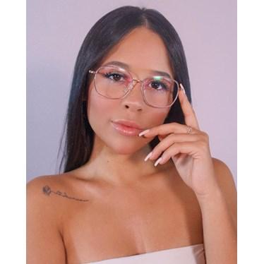 Armação de óculos de grau - Gabi - Rose Gold