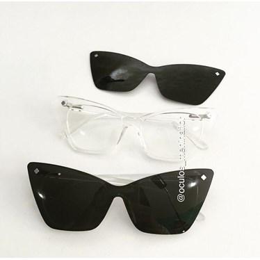 Armação de óculos de grau - Girl Pop 9017 - Transparente lente preta