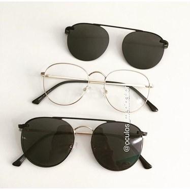 Armação de óculos de grau - Good Girl - Dourado com lente preta
