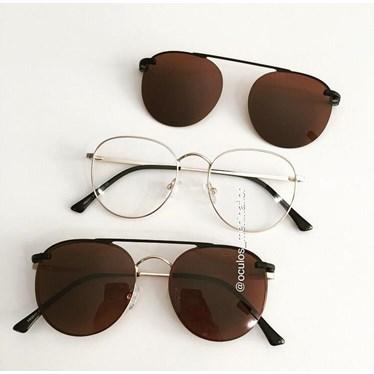 Armação de óculos de grau - Good Girl - Dourado lente marrom