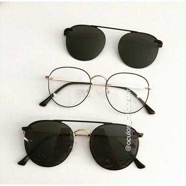 Armação de óculos de grau - Good Girl - Preto com dourado