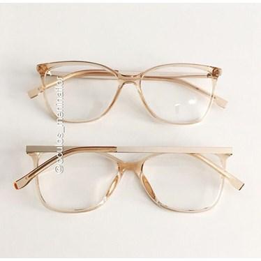 Armação de óculos de grau - Graziela - Dourado Transparente