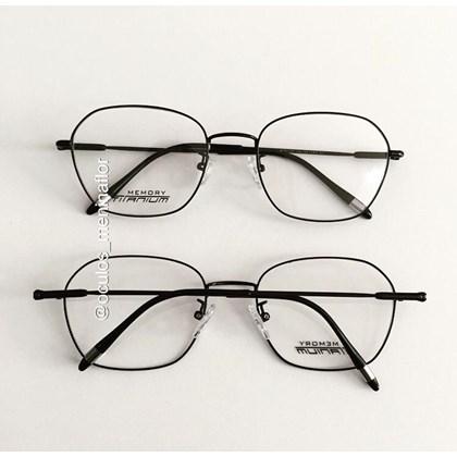 Armação de óculos de grau - Hexagonal titanium - Preto