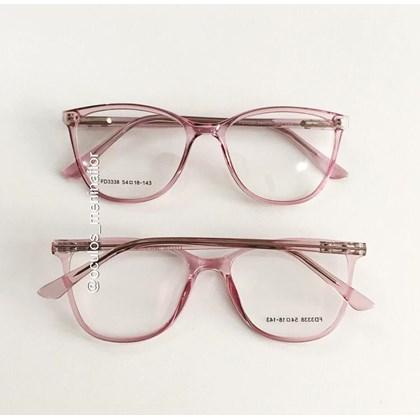 Armação de óculos de grau - Jade 3338 - Rosa transparência