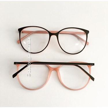 Armação de óculos de grau - Jasmine - Preto fundo rosa