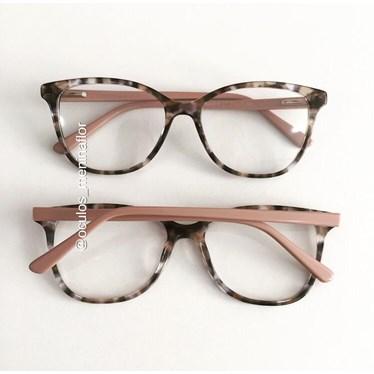 Armação de óculos de grau - Julia - Animal print haste Rose