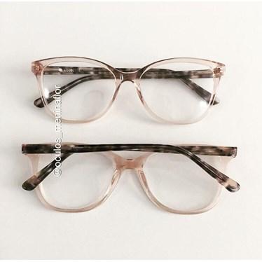 Armação de óculos de grau - Julia - Dourado transparente