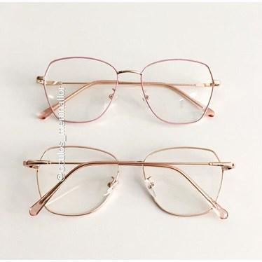 Armação de óculos de grau - Kiara - Rose com dourado