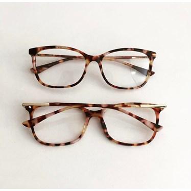 Armação de óculos de grau - Lari 2151 - Animal print rosado C6