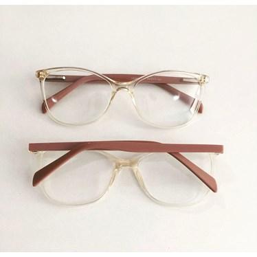 Armação de óculos de grau - Larissa 9606 - Dourado transparência haste rose
