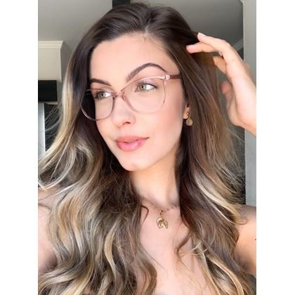 Armação de óculos de grau - Larissa 9606 - Rose transparência