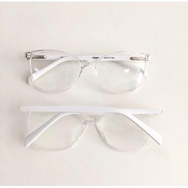 Armação de óculos de grau - Larissa 9606 - Transparente haste branca