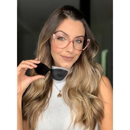 Armação de Óculos de Grau - Laura 5102/6102 - Rose transparência lente preta C6