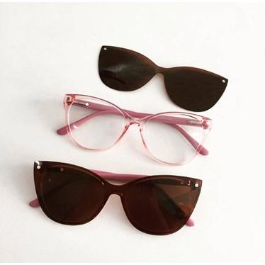 Armação de Óculos de Grau - Laura 5102 - Rose transparência Lente Marrom C5
