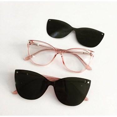 Armação de Óculos de Grau - Laura 5102 - Rose transparência lente preta C6