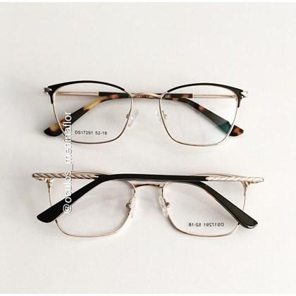 Armação de óculos de grau - Lilian 2.0 - Preto com haste animal print