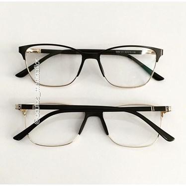 Armação de óculos de grau - Lilian - Preto com dourado