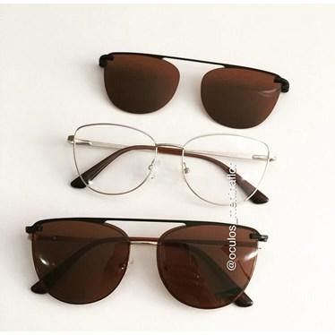 Armação de óculos de grau - Líris - Dourado lente marrom