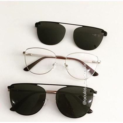 Armação de óculos de grau - Líris - Dourado lente preta