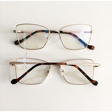 Armação de óculos de grau - Lisa - Dourado