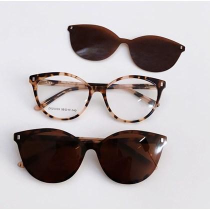 Armação de óculos de grau - Londres 25035 - animal print rosado lente marrom