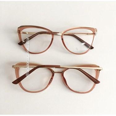Armação de óculos de grau - Lumah - Dourado transparente