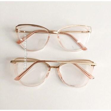 Armação de óculos de grau - Lumah - Rose transparência
