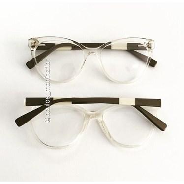 Armação de óculos de grau - Majuh - Dourado claro transparente C4
