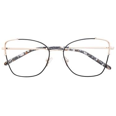 Armação de óculos de grau - Maldivas - Preto com dourado C1