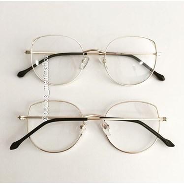 Armação de óculos de grau - Malévola - Bege com dourado