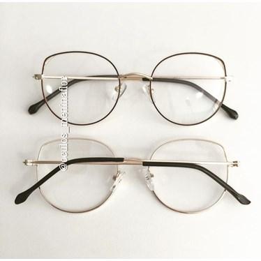 Armação de óculos de grau - Malévola - Marrom com dourado