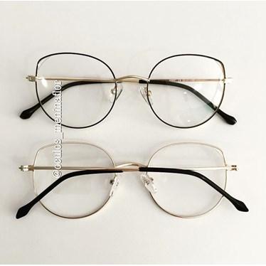 Armação de óculos de grau - Malévola - Preto com dourado