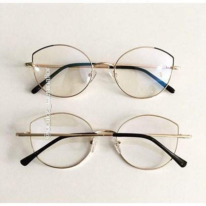 Armação de óculos de grau - Malévola Two - Preto com dourado