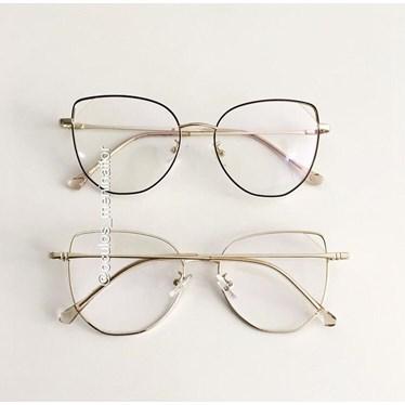 Armação de óculos de grau - Malvina - Preto com dourado