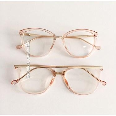 Armação de óculos de grau - Manu - Rose transparência