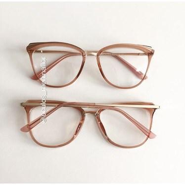 Armação de óculos de grau - Manu Two - Dourado transparente