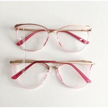 Armação de óculos de grau - Manu Two - Rose transparência