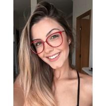 Armação de óculos de grau - Manu - Vermelho fundo animal print