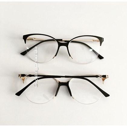 Armação de óculos de grau - Manuzita 2.0 - Preto com dourado