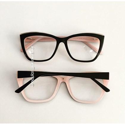 Armação de óculos de grau - Maressa - Preto fundo rosa