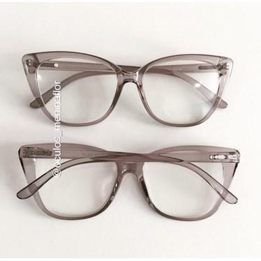 Armação de óculos de grau - Maud - Cinza transparência